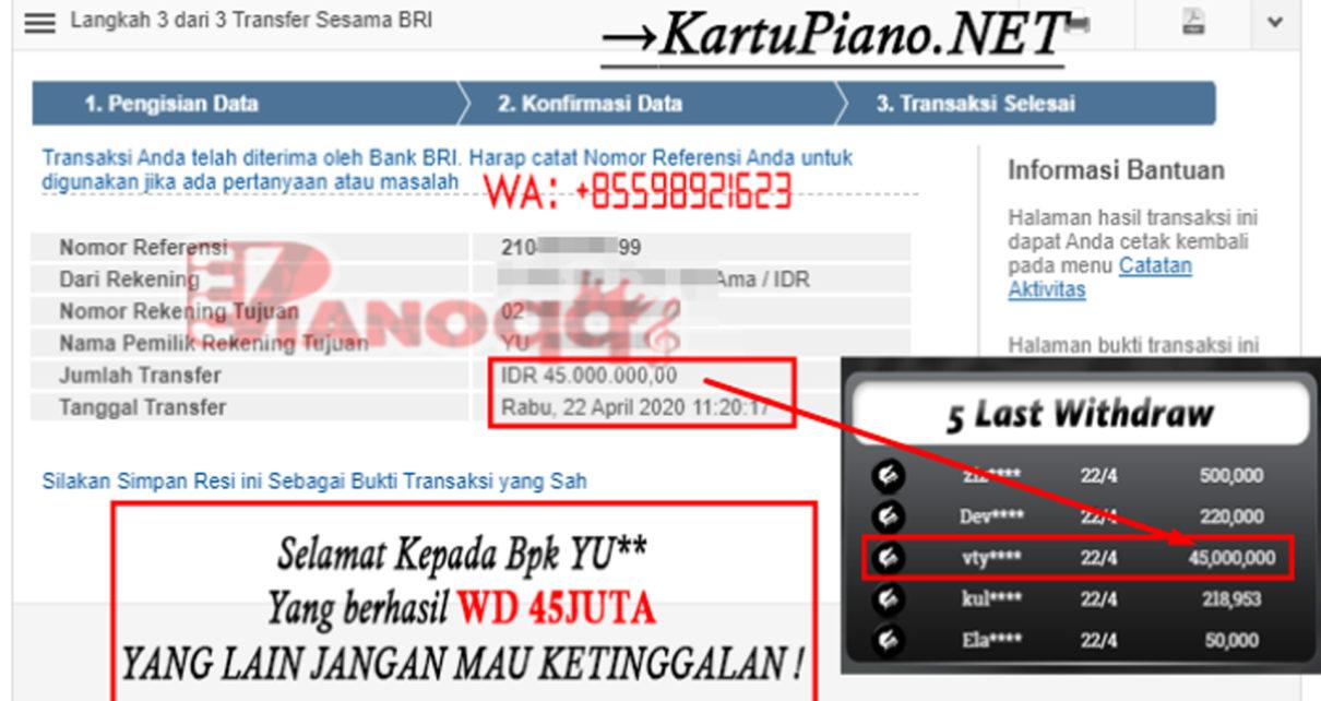 Pemenang BandarQ 45 Juta Di PianoQQ, 22 April